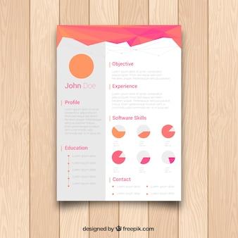 Abstract curriculum vorlage mit grafiken