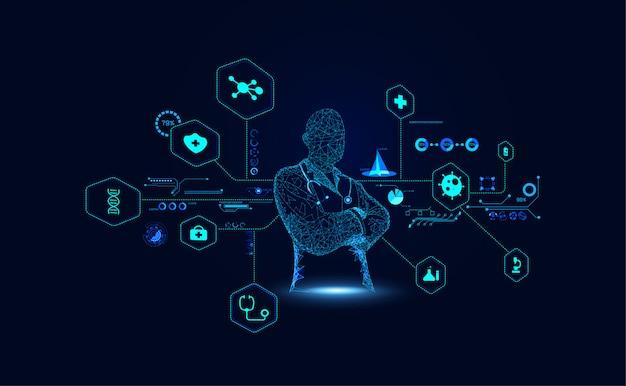 Abstract doctor wireframe digital- und hologramm-schnittstelle