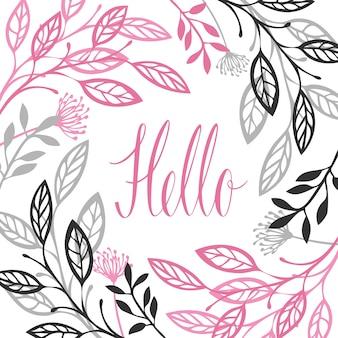 Abstract floral frame graue und rosa farbe hallo kalligraphie schriftzug isolierte vektorobjekt