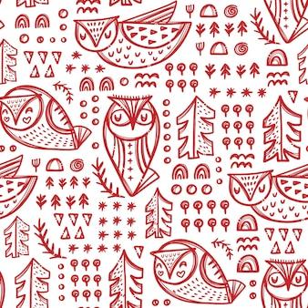 Abstract owls waldvogelvariationen mit bäumen und anderen pflanzen in roter farbe auf weißem handgezeichnetem nahtlosem muster von backgroung