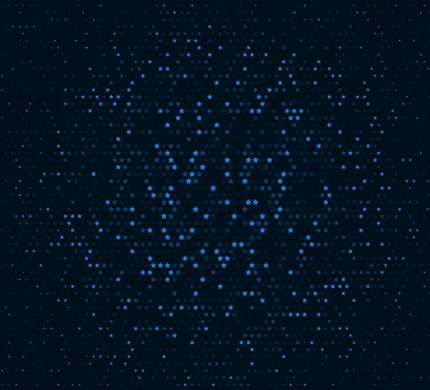 Abstract vector hintergrund. glühendes mosaik der sterne auf dem dunklen purpurroten hintergrund. halbton-effekt