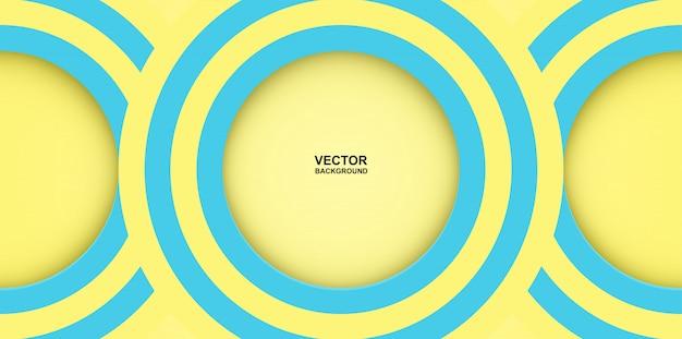 Abstrakt. bunte pastelle blau, gelber kreistrugbildform-überlappungshintergrund. licht und schatten.
