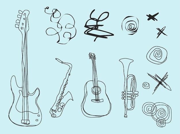 Abstrakt dekorationen mit verschiedenen musikinstrumenten
