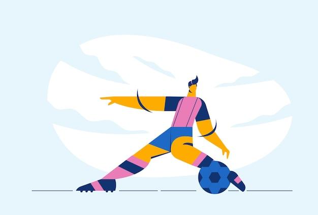 Abstrakt der fußball-athlet oder fußballspieler tritt den ball mit sportausrüstung im wettkampfspiel