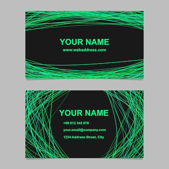 Abstrakt farbe visitenkarte vorlage design-set - vektor-identität design mit geschwungenen linien auf schwarzem hintergrund