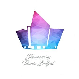 Abstrakt monument logo für die schimmernde titanic belfast aus dreiecken