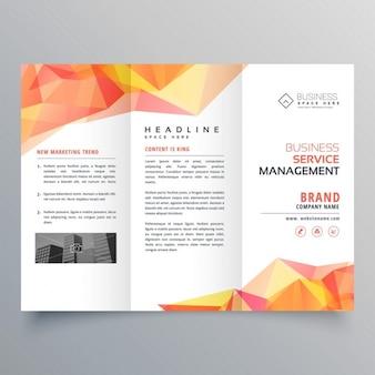 Abstrakt polygonal orange formen trifold broschüre design