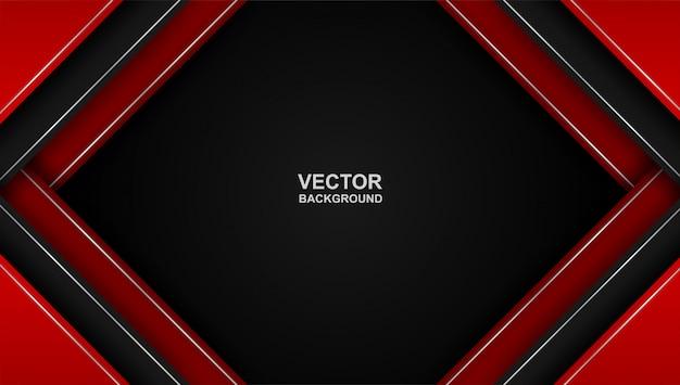 Abstrakt. rot - schwarzer geometrischer überlappungsformhintergrund mit farbverlauf.