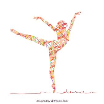 Abstrakt silhouette einer frau tanzen