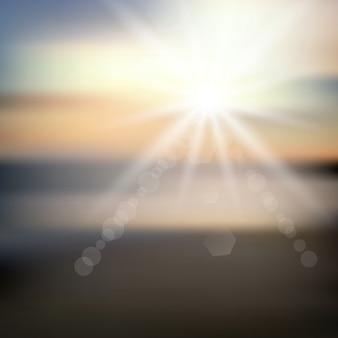 Abstrakt strand hintergrund mit sonnenstrahlen
