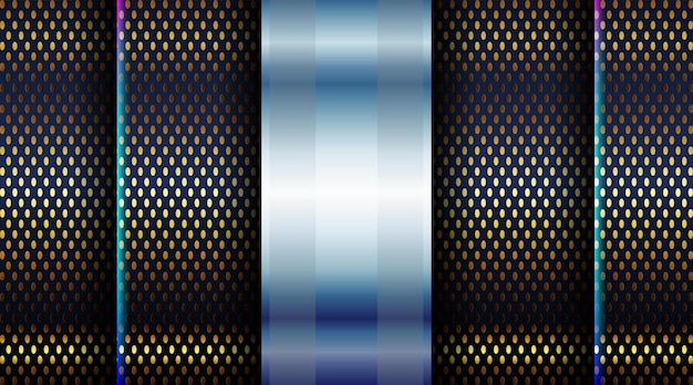 Abstrakt über dunkelschwarze formen zusammensetzung hintergrund helle poster technologie banner mit dynamischen goldlinien textur design
