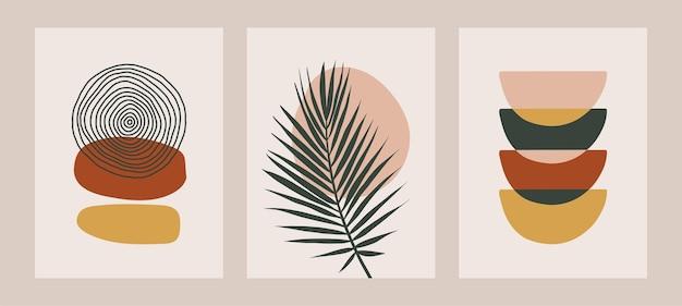 Abstrakt zeitgenössische geometrische formen und blume in einem modernen trendigen stil