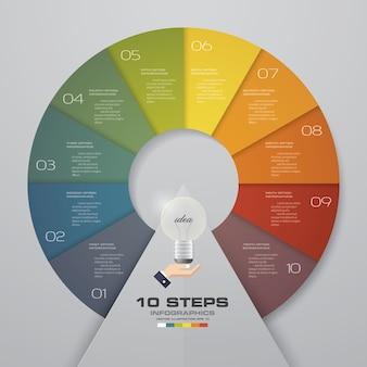 Abstrakte 10 Schritte moderne Diagramm infographics Elemente.