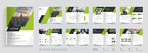 Abstrakte 16-seitige bi-fold-broschüre design premium-vektor