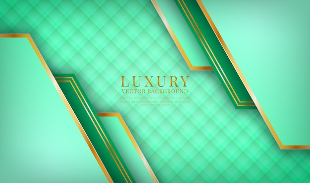 Abstrakte 3d-grüne luxus-hintergrundüberlappungsschicht mit goldener linieneffektdekoration