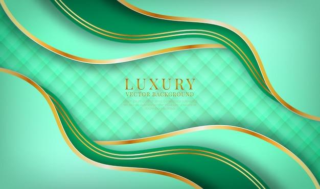 Abstrakte 3d-grüne luxus-hintergrundüberlappungsschicht mit goldener welleneffektdekoration