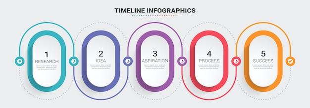 Abstrakte 3d-infografik-infografik-vorlage mit dünner linie und 5 schritten.