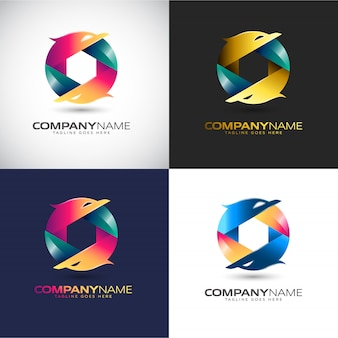 Abstrakte 3d logo vorlage für ihre firmenmarke