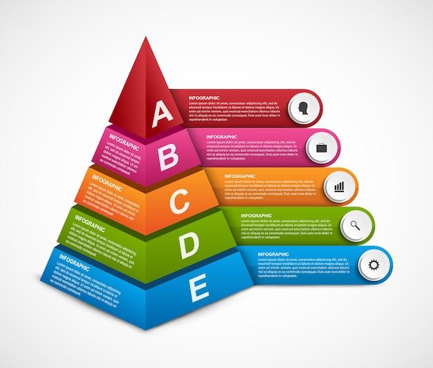 Abstrakte 3d-pyramidenoptionen infografiken vorlage für präsentationen