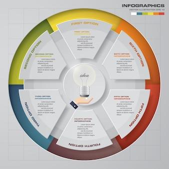 Abstrakte 6 schritte moderne kreisdiagramm infographics elemente.