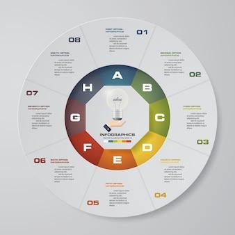 Abstrakte 8 schritte moderne kreisdiagramm infographics elemente.