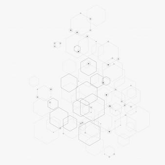 Abstrakte abbildung mit hexagonen, zeilen und punkten auf weiß. sechseck infographik. digitaltechnik, wissenschaft oder medizin.