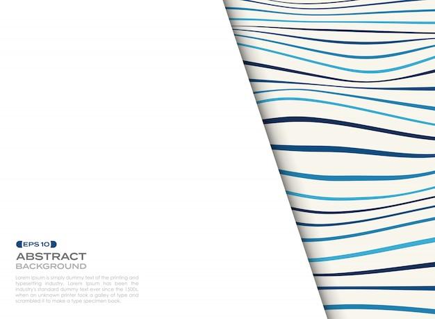 Abstrakte abdeckung des blauen gewellten musters mit freiem raum des texthintergrundes.