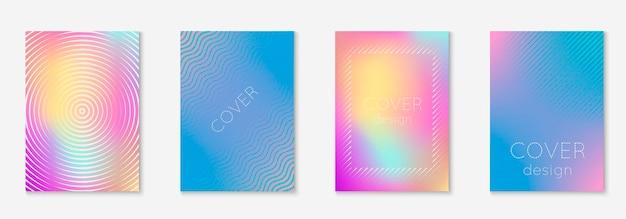 Abstrakte abdeckungen eingestellt. minimaler trendiger vektor mit halbtonverläufen. geometrische zukunftsvorlage für flyer, poster, broschüren und einladungen. minimalistisches buntes cover. abstrakte formenabbildung.