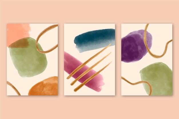Abstrakte abdeckungen mit aquarellformen