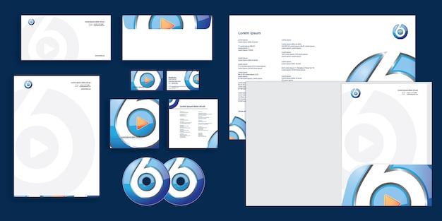 Abstrakte abgerundete play-taste kanal 6 moderne corporate business identity stationär