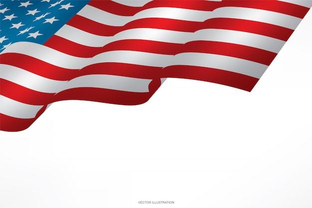 Abstrakte amerikanische flagge auf weißem hintergrund.