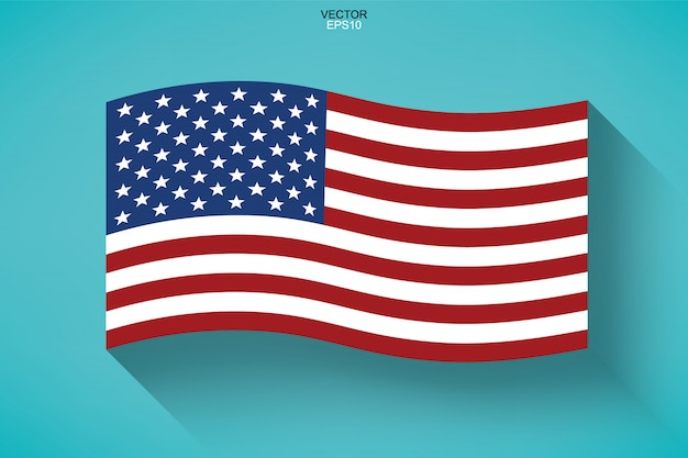 Abstrakte amerikanische flagge mit langem schatten.