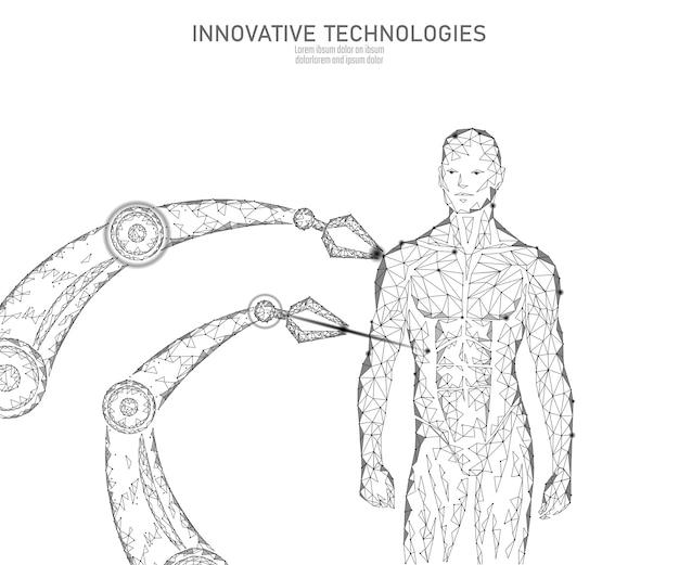 Abstrakte anatomie des menschlichen körpers. dna engineering science innovation technologie. genomgesundheitsforschung gentherapie medizin low poly 3d machen polygonale geometrische virtuelle realität vektor-illustration