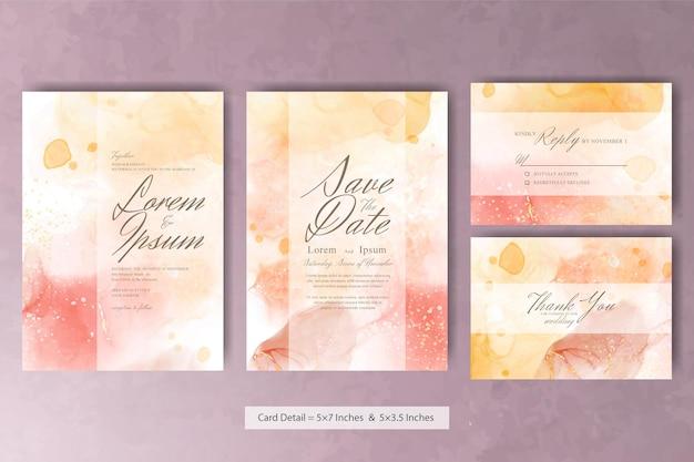 Abstrakte aquarell-hochzeits-einladungskarte mit pastellfarbe und farbenfroher flüssiger kunstmalerei