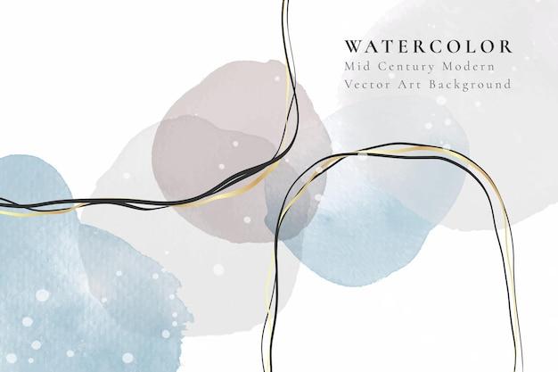 Abstrakte aquarell minimalistische komposition mit flüssigen fleckenelementen und goldenen linien