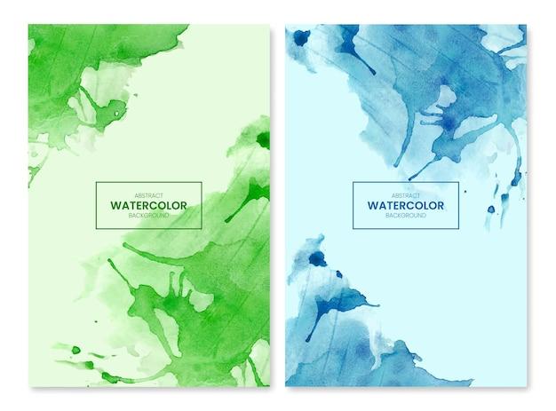 Abstrakte aquarellabdeckung gesetzt in den grünen und blauen farben