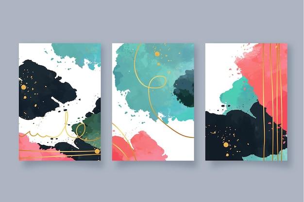 Abstrakte aquarellformen deckt packung ab