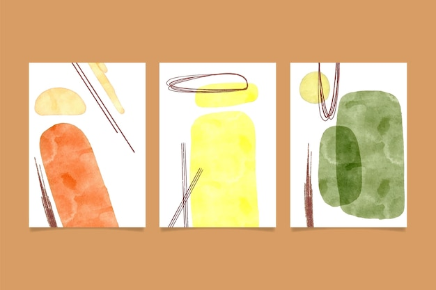 Abstrakte aquarellformen deckt schablonensatz ab