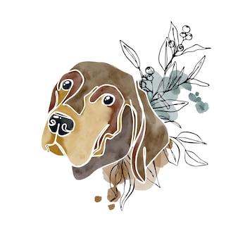 Abstrakte aquarellillustration mit hund und blumenumrisselementen