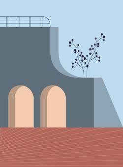 Abstrakte architektonische geometrische formen treppenbogen botanische elemente stil minimalistisch
