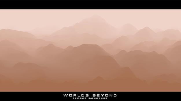 Abstrakte beige landschaft mit nebligen nebel bis horizont über berghängen.