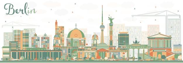 Abstrakte berliner skyline mit farbgebäuden. vektor-illustration. geschäftsreise- und tourismuskonzept mit historischer architektur. bild für präsentationsbanner-plakat und website.