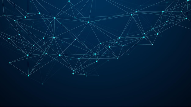 Abstrakte big data-visualisierung digitale netzwerkverbindung konzept hintergrund. künstliche intelligenz und engineering-technologie. globales netzwerk, lines plexus, minimales array. vektor-illustration.