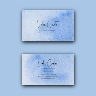 Abstrakte blaue aquarell-visitenkartenschablone