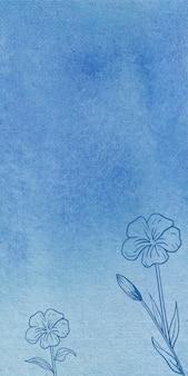 Abstrakte blaue aquarellfahnenhintergrundbeschaffenheit mit hand gezeichneten blumen
