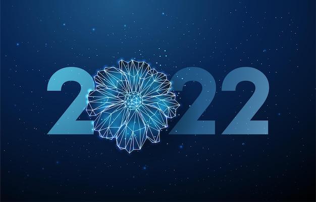 Abstrakte blaue blume und nummer 2022 jahr grußkarte low-poly-stil design wireframe-vektor
