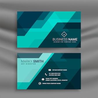 Abstrakte blaue bürovisitenkarte im geometrischen stil
