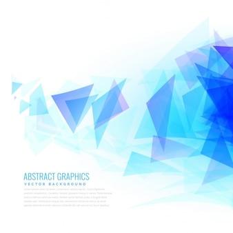 Abstrakte blaue dreieck formen von der rechten seite platzen