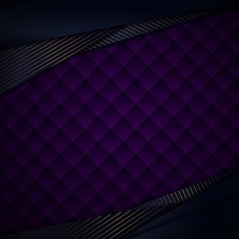Abstrakte blaue dreiecke mit violettem hintergrund der goldlinien