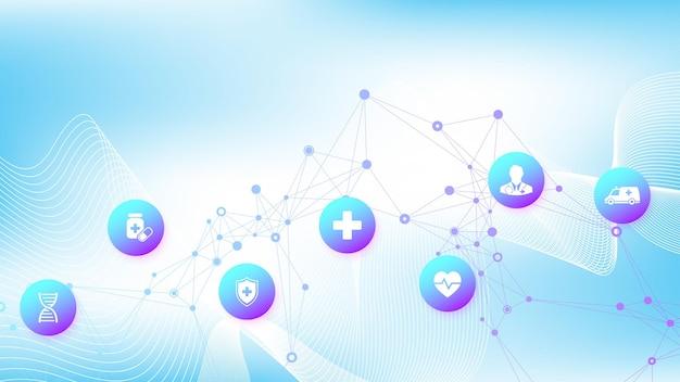 Abstrakte blaue fahne des medizinischen und wissenschaftlichen gesundheitswesens